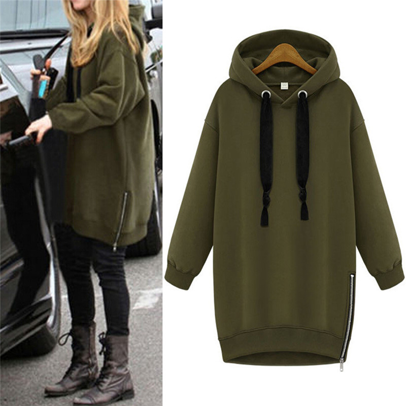 Hooded Loose Casual Warm Hoodies Sweatshirt Oversized Spring Autumn Women Long Sleeve Black Green Plus Size S-3XL
