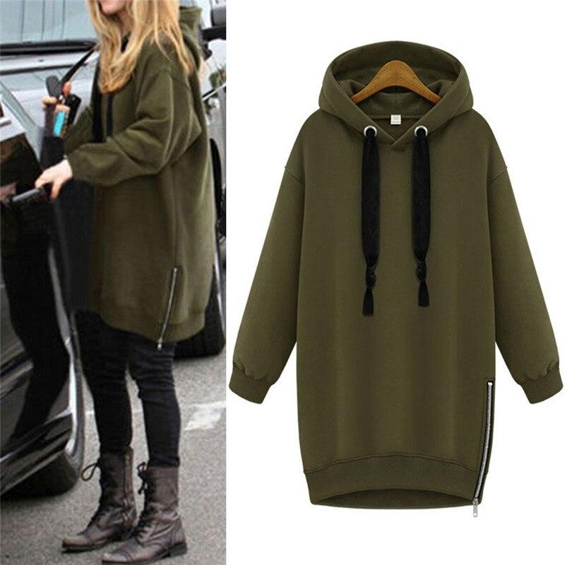 Hooded Loose Casual Warm Hoodies Sweatshirt Oversized Spring Autumn Women Long Sleeve Black Green Plus Size S-3XL