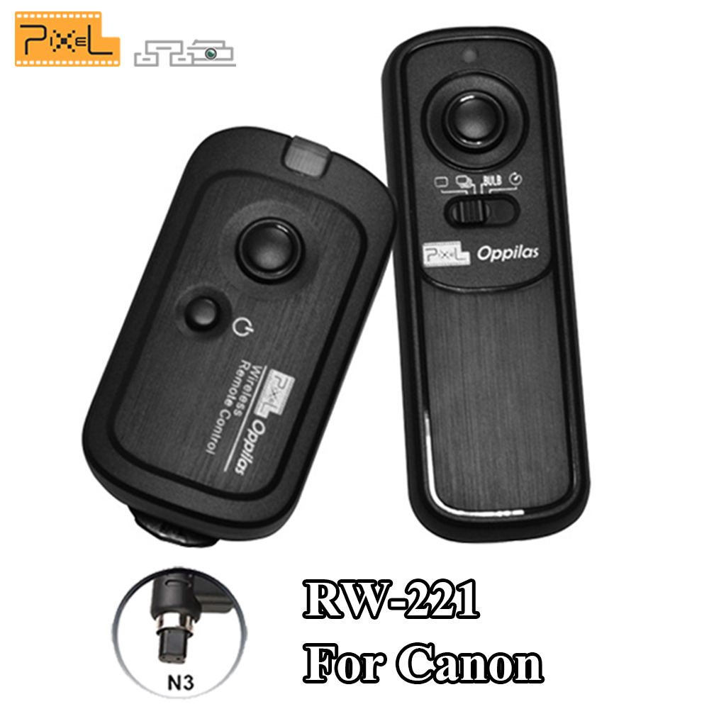 PIXEL RW-221 / N3 Wireless Shutter Release Remote Control Cable For Canon EOS 7D 5D 1D Series 6D 50D 40D 30D 20D 10D DSLR Camera godox plastic wired shutter release remote cord for canon 7d 5d 5d3 5d2 more black