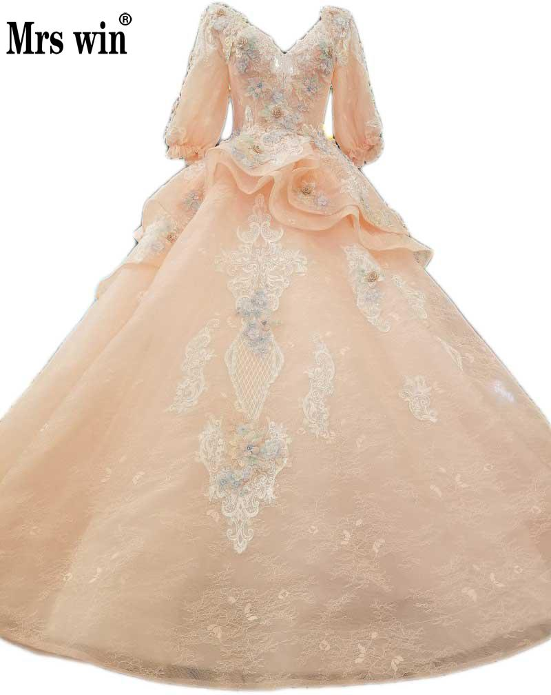 Charming Stunning Tulle Deep V Neckline Light Orange Ruffle Wedding Dresses With Lace Colorful Flowers Half Sleeve Bride DressC