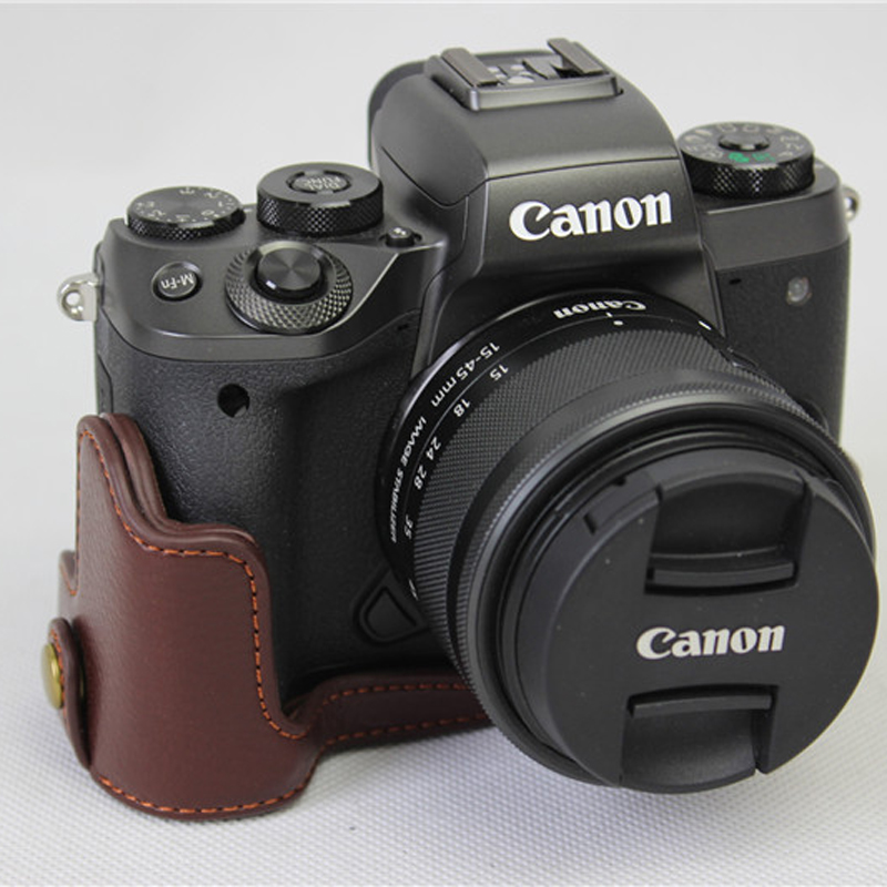New Genuine Real Leather Half Camera Bottom Case Cover Bag For Canon EOS <font><b>M5</b></font> EOSM5 Bottom Opening take out easy of <font><b>battery</b></font>