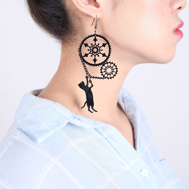 Funny Acrylic Jewelry Playful steampunk cat earrings