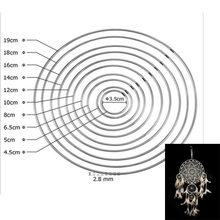 10 sztuk łapacz snów Reve okrągłe pierścienie ustalenia wiszące okrągłe Cercle Metal wlać Attrape Reve netto biżuteria brelok 35-400mm DIY