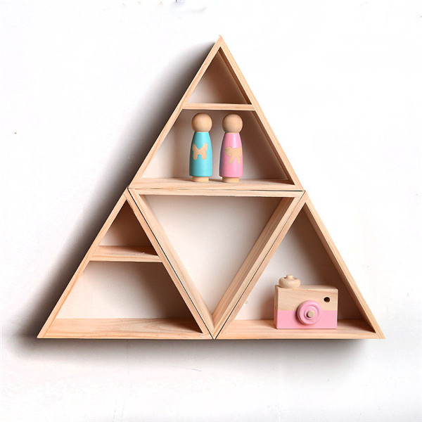 Triangle Wall Hanging Holder Storage Rack Board Christmas wood Manual Child room decoration Kids photography Home craft DIY INS