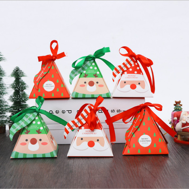 Creative Christmas Gifts.Us 3 32 Aliexpress Com Buy 10pcs Lot Christmas Biscuits Candy Box Creative Christmas Gift Box Baking Triangulation Carton Holiday Party Gifts