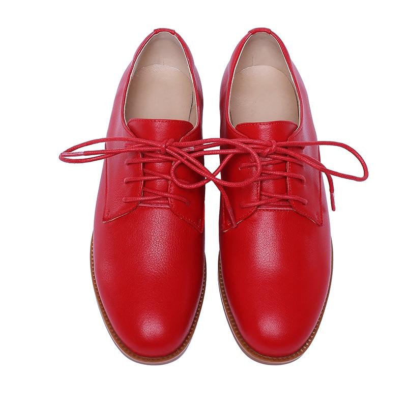 Mûr Karinluna Rouge Pompes En Lacets Flambant Véritable À Style Élégantes Cuir Neuf D'âge Chaussures 2019 blanc Chic Classiques Femmes De Mode FrxOF