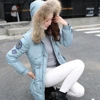 Chaqueta de invierno mujer Chaqueta de algodón de gran tamaño ropa de mujer Pieles de animales collar Sudaderas acolchado Chaquetas para las mujeres casual parka abrigo c1396