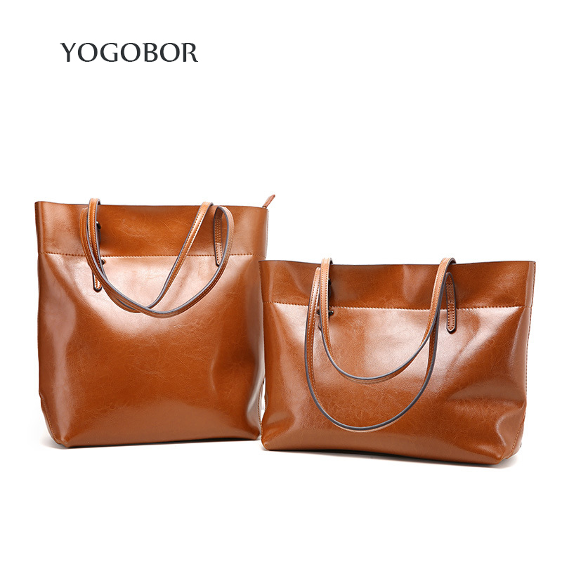 ФОТО 2017 High Quality Genuine Leather Women Bag Bucket Shoulder Bags Solid Big Handbag Large Capacity Top-handle Bags New Arrivals