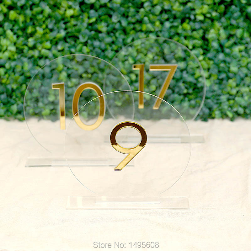 Table Numbers Wedding Table Numbers ,Round Clear Acrylic Tags, acrylic table numbers,Gold Mirror Wedding Signs Number