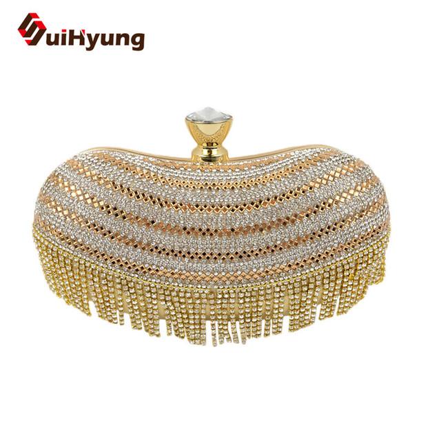 2016 New Fashion Women Diamond Evening Bag Glitter Crystal Wedding Small Clutch Purse Patchwork Tassel Day Clutch Female Handbag