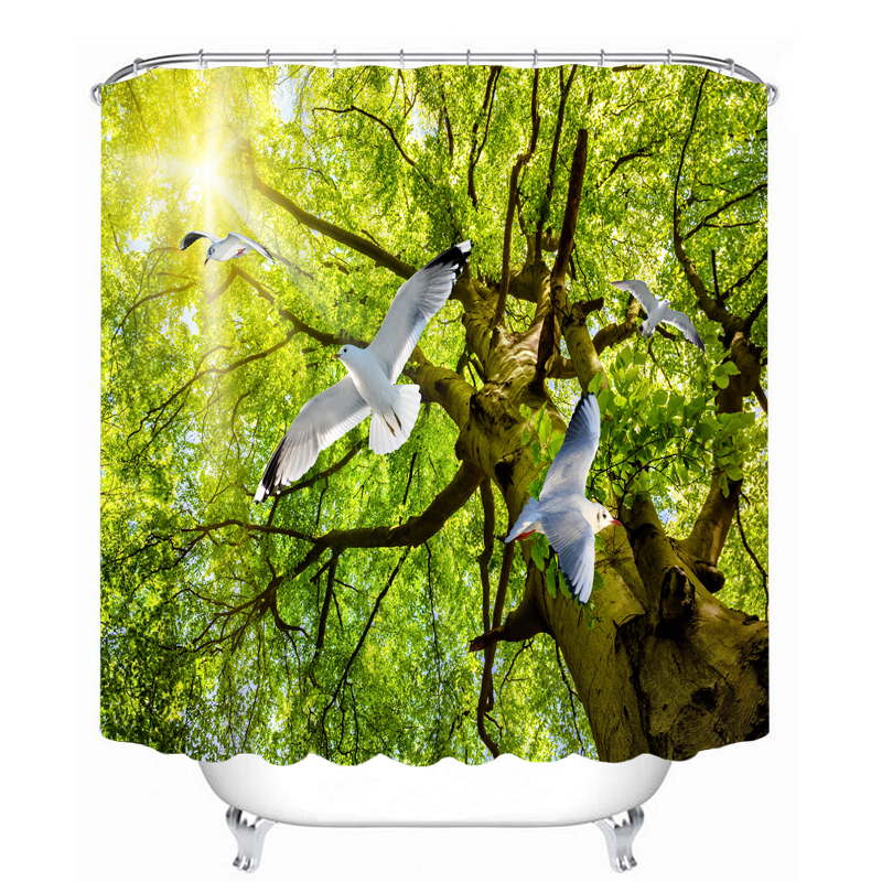 MYRU 3D Print Waterproof Dove Shower Curtains Bath