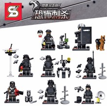 Swat Police Falcon Commandos Counter Strike Weapon Base BattleField Marine Corp Building Blocks Toys for children