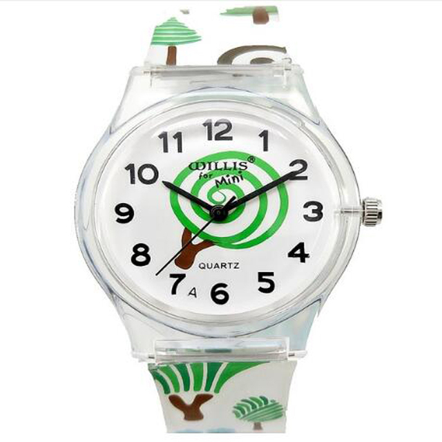 WILLIS Kids Watches Boys Girls Fashion Small Cartoon Tree Silicone Strap Watch C