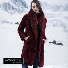 Winter Warm Double Face Fur Jacket Reversible Sheep Fur Coat For Women Bordeaux Lamb Fur Overcoat With Huge Raccoon Fur Collar