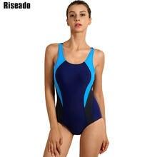 f30e6a1314 Riseado Nowy 2018 Sport One Piece Swimsuit Konkurencyjne Stroje Kąpielowe  Kobiety kobiet Pływanie Garnitury Patchwork Kostiumy