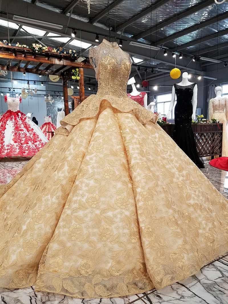 2018 Newl роскошные золотые цвета шампанского Кружева Свадебные платья без рукавов с высоким воротом Королевский поезд вечернее платье без спинки настоящие свадебные платья