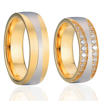 Anel Ouro Vintage 18k Gold Plating CZ Diamonds Engagement Wedding Lord Of The Rings Pair Sets