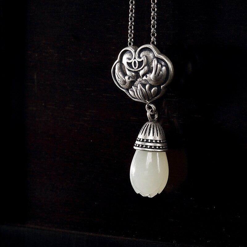 S925 pur argent antique mosaïque et Jade blanc magnolia fleur canard mandarin lotus dame haut de gamme pendentif en gros
