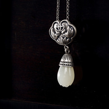 S925 pure silver antique mosaic and Jade white magnolia flower mandarin duck lotus lady high-end pendant wholesale