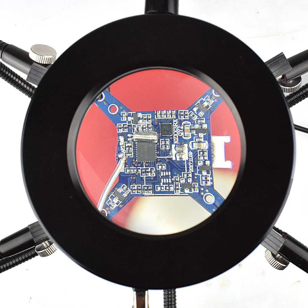 NEWACALOX di Saldatura del Ferro del Supporto USB HA CONDOTTO Le Luci 3X Lente di Ingrandimento di Vetro 6 pcs Flessibile Braccia Saldatura Stazione di Terza Mano Saldatura Strumento