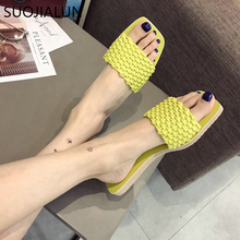 SUOJIALUN Women Slippers Flat Fashion Shoes Casual Beach Slides Flip Flops Fluorescent Color Woman Slipper