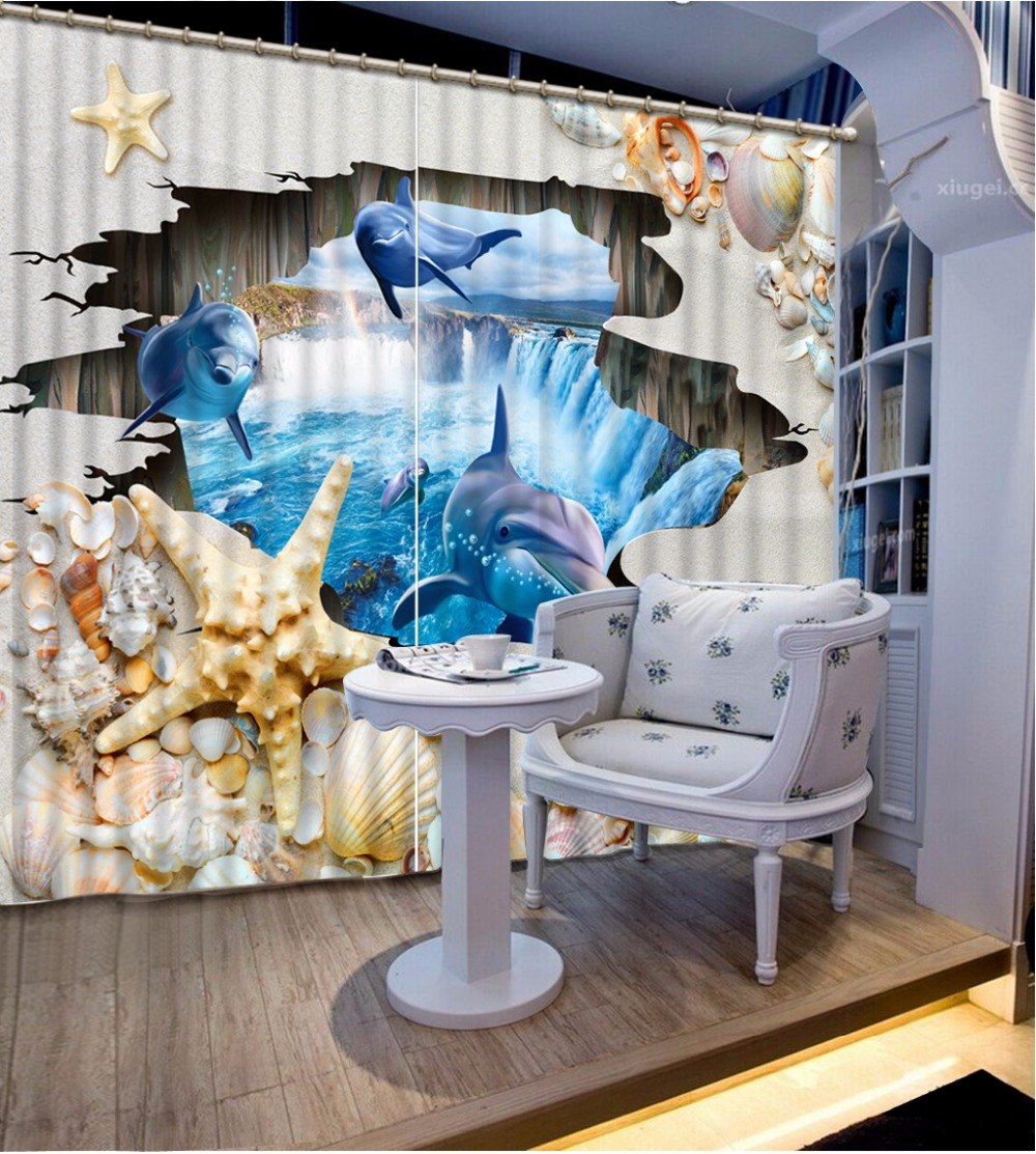 Home Bedroom Decoration Fashion Customized 3D Curtain Shell Scenery Dolphins Curtains For Bedroom Blackout Shade Window Curtains