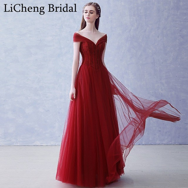 115c49f3ea05 Real photo red beading prom dress long sexy V-neck off shoulder prom dress  A-line for prom party dress vestido longo 2017