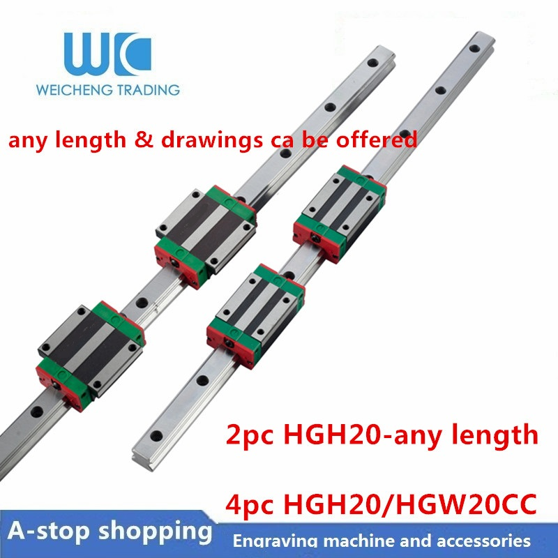 2pc Linear Rail Guide HGR20 HGH20 any length 4pc HGH20CA Linear Narrow Flange carriges Sliding Block