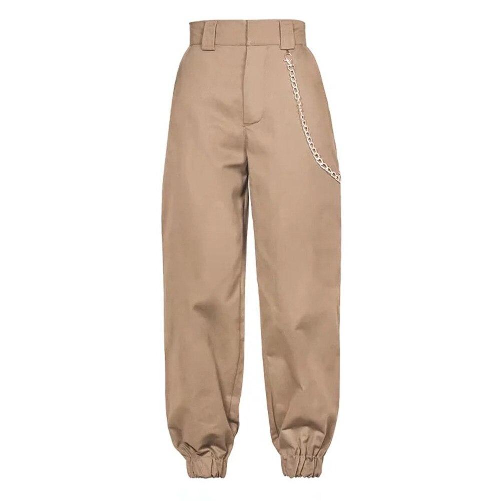2019 Hot Sale Female High Waist Harem Pants Women Fashion Sexy Slim Solid Color Long Pants Hip Hop Pant Streetwear With Chains#