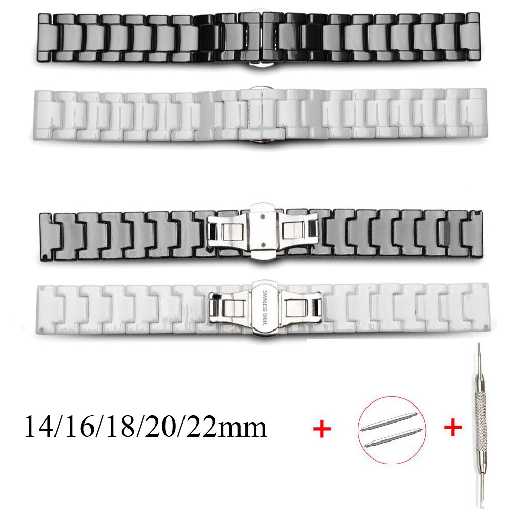 Ceramic Watch Bracelet 14mm 16mm 18mm 20mm 22mm Watchband White Black Ceramic Strap Universal Wristwatches Band