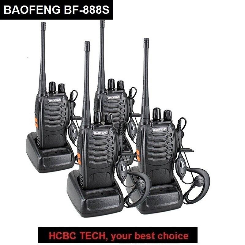 4 pcs BAOFENG Talkie Walkie BF-888S Portable CB Radio UHF 400-470 mhz BAOFENG 888 s Jambon Émetteur-Récepteur Radio communicateur 888 s Walkie