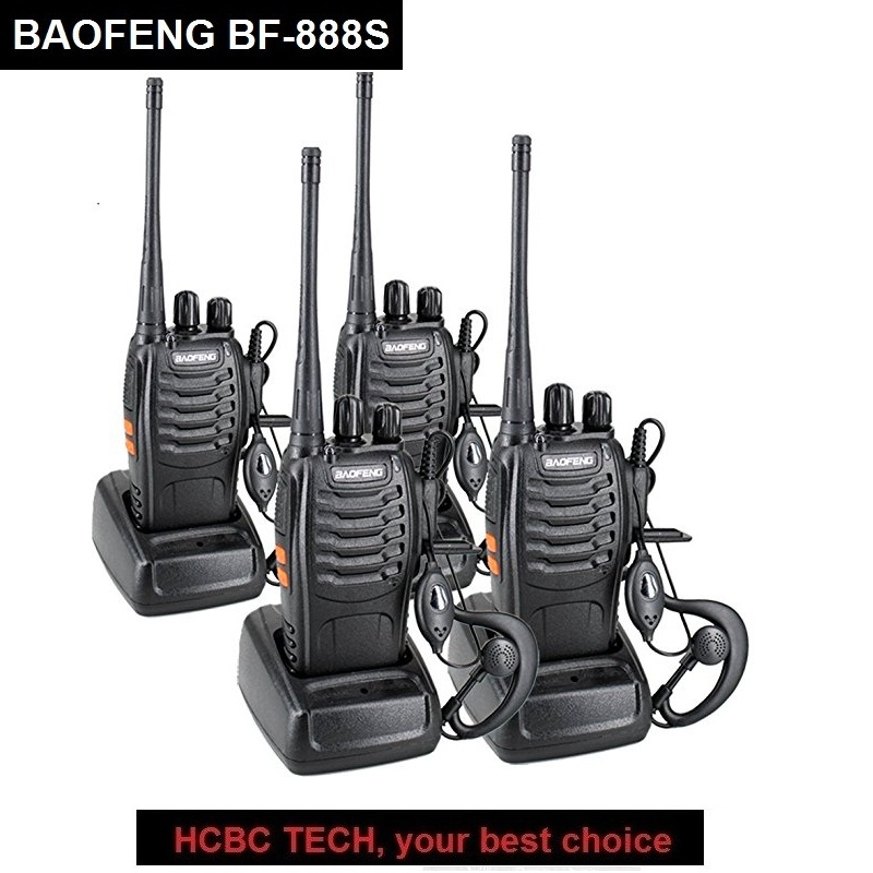 4 pz BAOFENG Walkie Talkie BF-888S Portatile CB Radio UHF 400-470 mhz BAOFENG 888 s Ricetrasmettitore Radio di Prosciutto communicator 888 s Talkie
