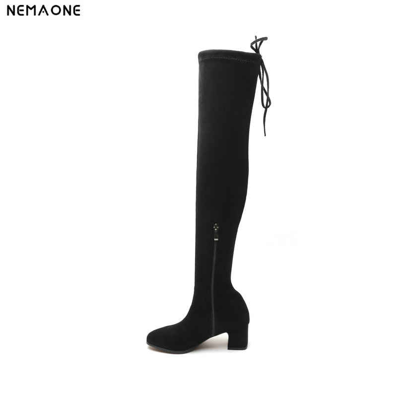 NemaoNe 2018 Over The Knee Boots Winter Round Toe Warm Women Boots Lady Stretch Fabric high heels Fashion Boots airfour new fashion style warm winter boots for women over the knee round toe square high heels poitnted toe fashion lady shoes