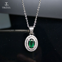 TBJ,100% natural zambia 0.5ct emerald pendants 925 sterling silver with gift box,natural emerald necklace for mom as best gift