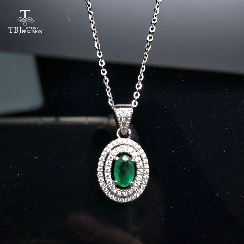 TBJ, 100% naturel zambie 0.5ct pendentifs émeraude 925 en argent sterling avec boîte-cadeau, collier émeraude naturel pour maman comme meilleur cadeau