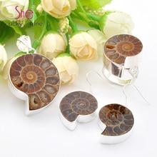 Top Jewelry fashion Nautilus fossils Gem Pendants earrings rings Jewelry Sets USA Russia Canada Australia Wedding Pendants