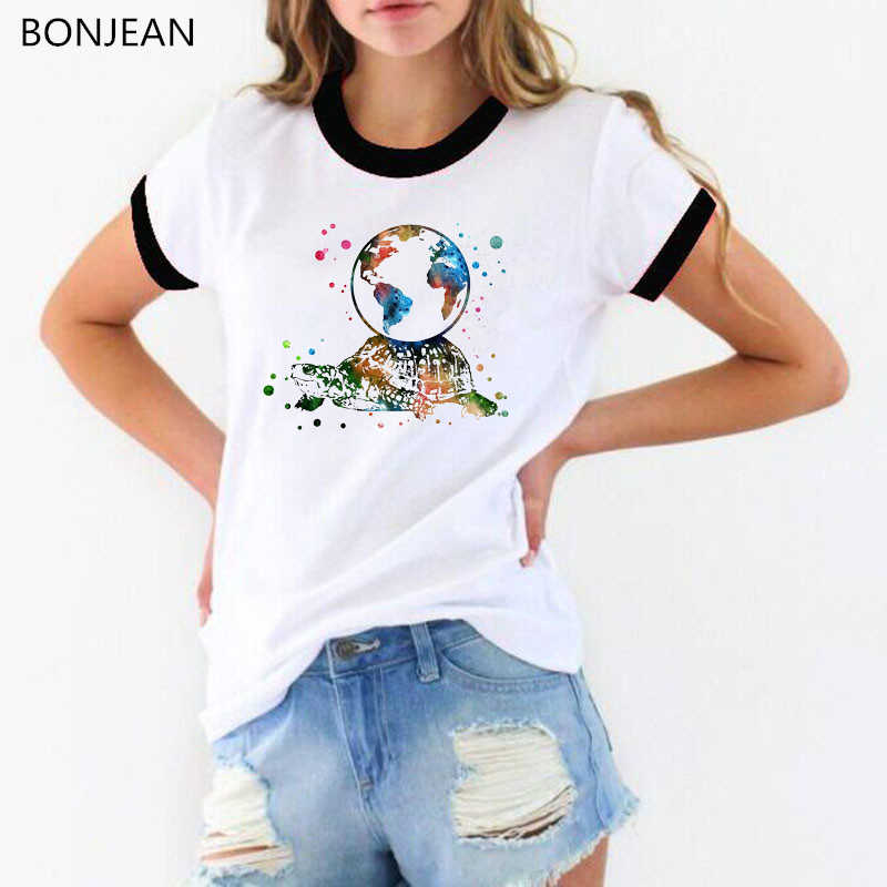 2019 Summer funny Women t shirt Turtle with earth on its back watercolor Print T-Shirt femme streetwear tshirt female tumblr