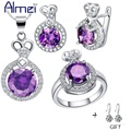 Almei 2017 Fashion Jewelry Silver 925 Sets Amethyst Jewellery for Women Wedding Bridal Party Gift Set Luxury Cubic Zirconia T462
