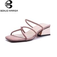 BONJOMARISA Large Size 33 40 Hoof High Heels Narrow Band Decoration Shoes Woman Summer Solid Slip