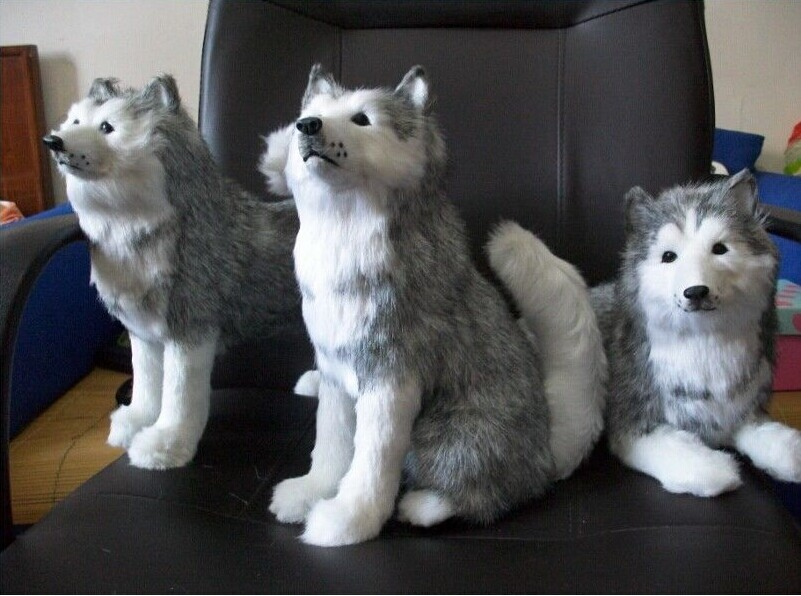 3 pieces lovely husky toy simulation sitting, standing, lying husky dog doll birthday gift about 30cm 1397