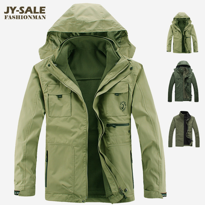 ФОТО Jy outdoor jacket male three-in twinset fleece liner plus size thickening windproof hiking clothing  =YcfM4
