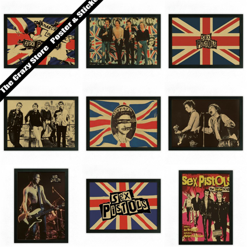 Sex Pistols Bar Cafe retro nostalgia kraft paper decorative painting posters wall sticker