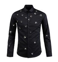Men's Quality Handmade Metal Swallows Black Cotton Long Sleeve Dress Shirt Fashion Casual Masculinas Camiseta for Party