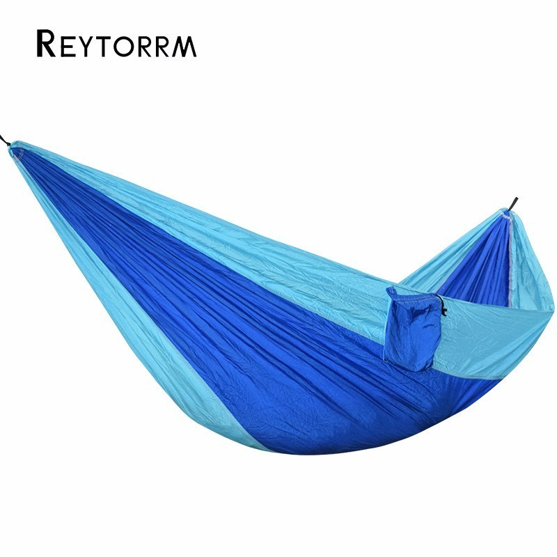 Ultralight 1 Person Nylon Hammock Blue Parachute Portable Durable Camping Hanging Beach Sleeping Carabiners and Ropes Included furniture size hanging sleeping bed parachute nylon fabric outdoor camping hammocks double person portable hammock swing bed