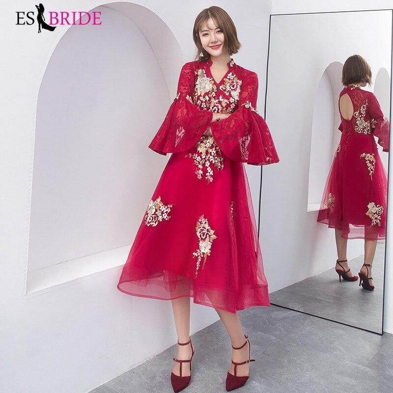 Red Vestidos De Fiesta De Noche Gorgeous Gold Lace Appliques   Evening     Dresses   2019 Long   Evening     Dress   Robe De Soiree ES2473