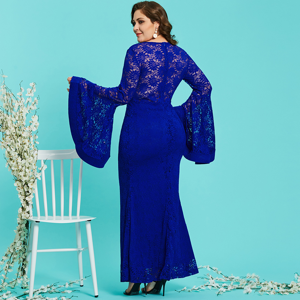 Dressv royal blue round neck plus size evening dress elegant mermaid ...