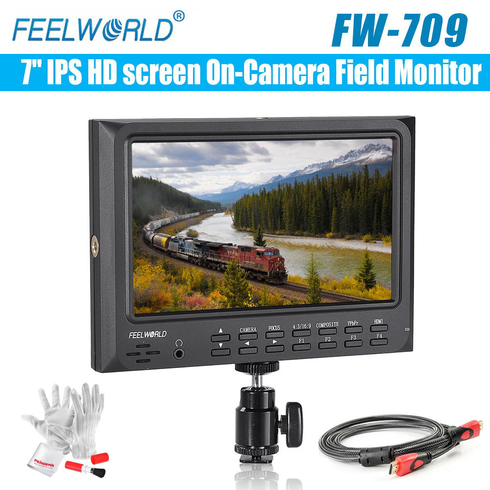 Feelworld FW-709 7 IPS HD screen On-Camera Field Monitor with HDMI input&output Support GH4,A7RII, A7SII,A7S,5D, 7D,D800 Camera lilliput tm 1018 o p 10 1 led ips full hd hdmi field touch screen camera monitor with hdmi input