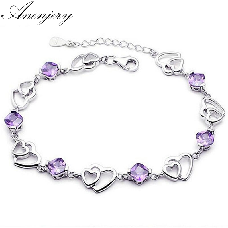 Anenjery Hot Fashion 925 Sterling Silver Bracelet For Women Double Heart Zircon Bracelet Pulseira Feminina S-B149