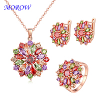 MOROW 3pc/Sets Rose Gold Color Colorful Zircon Necklace Earring Ring High Quality Jewelry Set for Women Party Gift Rings Size7 8