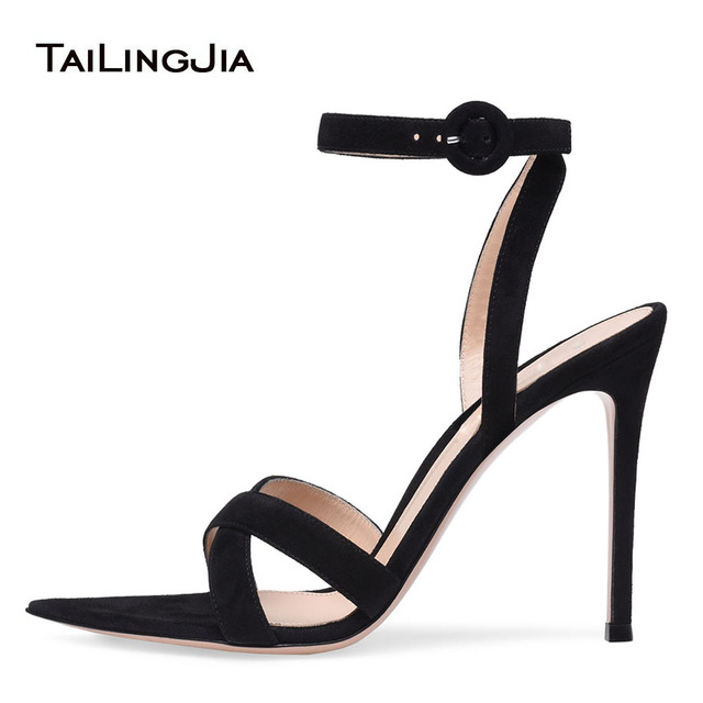 7aad8cf03 Elegant Crossed Straps Sandal Black Strappy Sandals Pointed Sole High Heel  Dress Shoes Stiletto Heel Summer Shoes for Women 2018